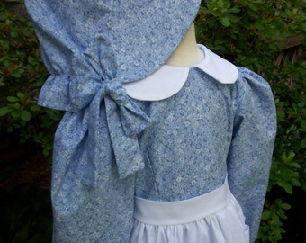 Girls Prairie Dress/Pioneer costume..with   Apron and Bonnet ...SPECIAL ORDER only/Please read lead time