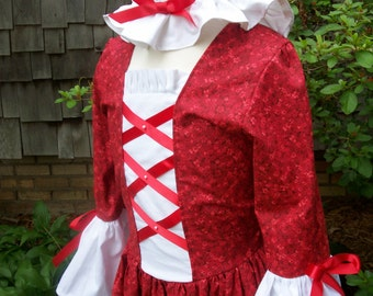 Girls Colonial costume and Mob Cap ... Made to order ONLY(PLEASE check lead time inside of ad)