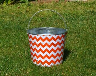 Tangerine Orange and White Chevron Fabric Covered Galvanized Perfect Pail