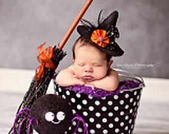 Halloween Newborn Baby Photo Prop Galvanized Bucket Fabric Decoupage Black and White Polka Dot