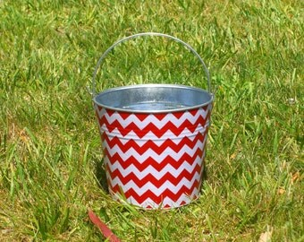 Cherry Red and White Chevron Fabric Covered Galvanized Perfect Pail