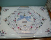 Vintage New in Box Heritage  4 Placemats and 4 Napkins - Tiny cross stitching - Roses