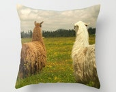 Llama Time Pillow Cover Green Grass Llama Pillow White Brown Woodland Meadow Forest Sweet Things