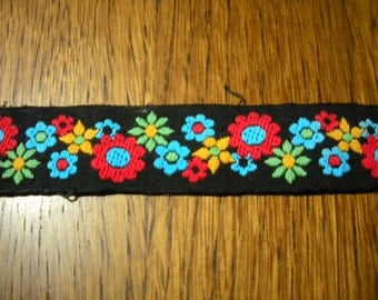 3 Pieces of Vintage Bright Trim Black Red Green Blue Yellow
