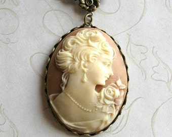 Lady cameo necklace, vintage style cameo pendant, long chain necklace, Victorian style