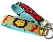 Wristlet Key Fobs - Fabric Key Chain Choc Mocca N Disco Dots