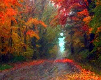 Autumn Leaves,  Fall Landscape, Nature Photograph, Fine Art , Painted Photograph, Seasonal Photography, Giclee Print