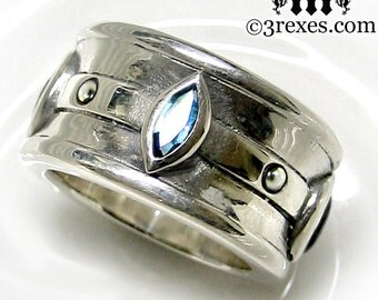 RESERVED Mens Silver Ring Blue Topaz Gothic Engagement Band Moorish Marquise Size 8.5