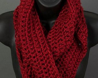 Women's infinity scarf, autumn red, ready to ship, crocheted scarf