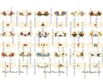 Instant 18 Small BIRDS FLOWERS Floss Bobbin Embroidery thread DIGITAL Download Holder Keeper  Tidies Printable Flowers Butterfly