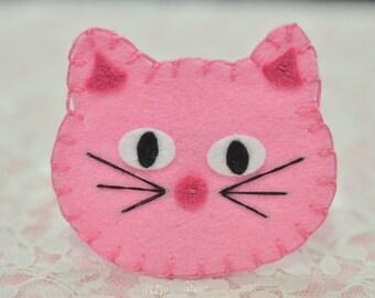 Set of 6pcs handmade felt cat--baby pink (FT988)