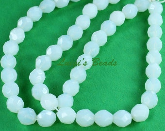 25 Milky White Czech Firepolished Glass Beads Round 8mm - Use coupon code LUIGIS10 for 10% off