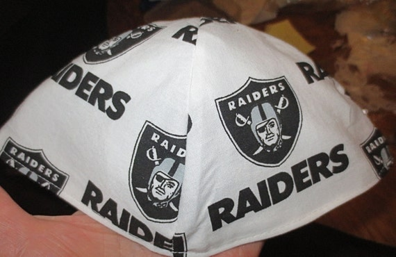 NFL Oakland Raiders kippah or yarmulke  select white or black backgrounds