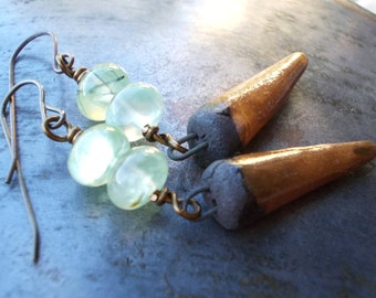 Handmade tribal earrings stoneware spike dagger with natural prehnite and brass gypsy bohemian primitive talisman earthy stone bead