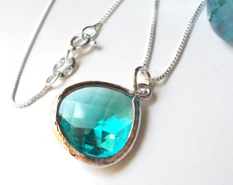 Aquamarine blue silver necklace, aquamarine necklace, glass drop, blue pendant, blue necklace, 925 sterling silver chain dainty topaz charm