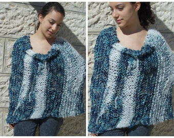 Poncho freeform hand knitted waves shoulder wrap cape capelet caplet for women blue white merino wool alpaca shawl knit loose mesh net lace