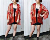 FRINGE KIMONO JACKET//floral print,red and cream,brown fringing,boho,floral kimono,short kimono s/m