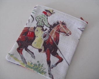 Vintage barkcloth change purse - Cowboys