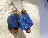 Lapis & Brass Earrings
