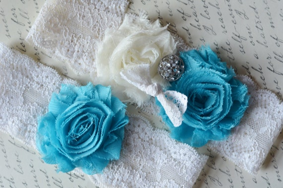 RESERVEED for MADALINE - ivory and turquoise