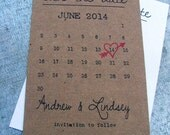 Calendar Save the date cards, heart date save the date cards, digital file