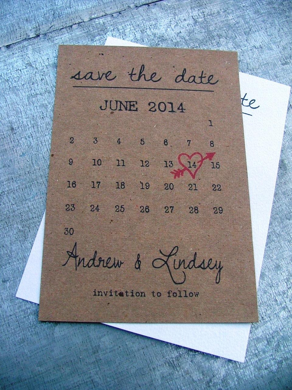 Diy Calendar Card : Printable calendar save the date cards heart