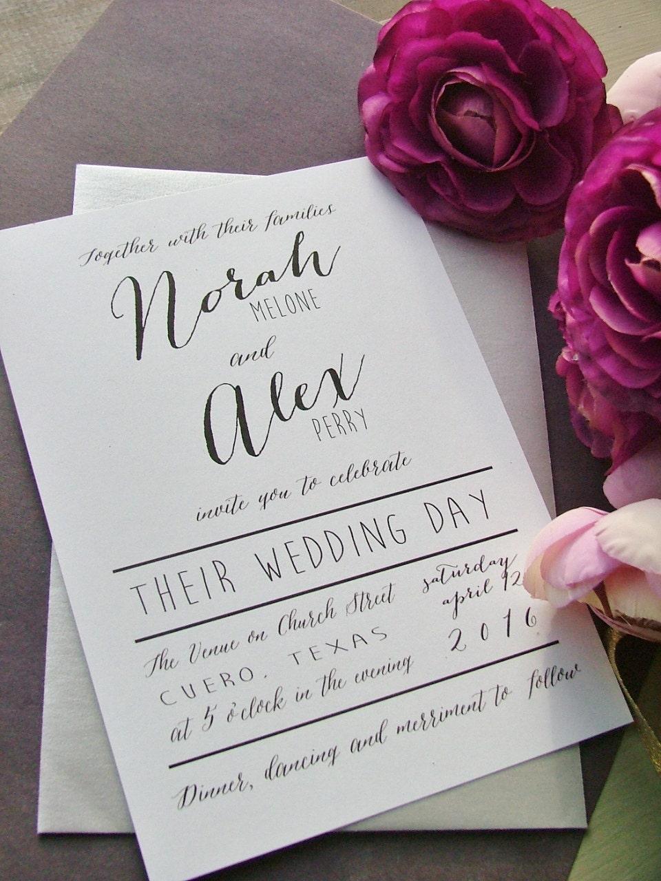 modern wedding invitations simple preppy wedding onepaperheart