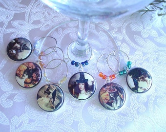 Vintage Witches Wine & Drink Glass Charms - Set of 6