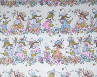 Vintage Bridal Shower Wrapping Paper or Gift Wrap with Girls Umbrellas Flowers Butterflies Birds Watering Cans