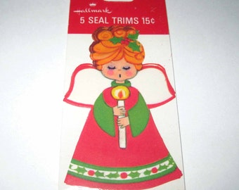 Vintage Hallmark Christmas Seals or Trims with Angel Holding Candle in Original Package NOS Set of 5