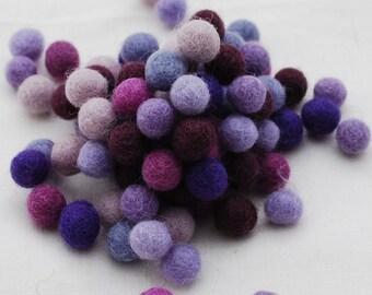 1cm / 10mm - 100% Wool Felt Balls - 100 Count - Assorted Purple Color Shades