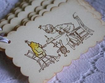 Classic Winnie the Pooh Gift Tag - Happy Birthday Pooh Bear
