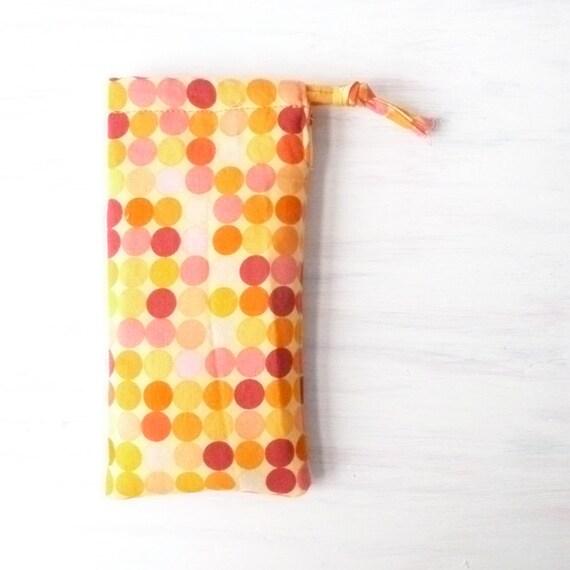 Orange Fabric Glasses Bag. Sunglasses Case. Yellow Polka Dot Vegan Recycle Girls Gift. Womens Small Drawstring Pouch