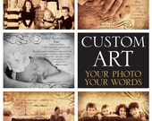 Custom Personalized Photo Art - Wedding Photo Vows - Baby Photo Text - Family Photo - Your Text and Your Photo Keepsake