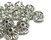 Ornate Pewter Beads Bali Style Antiqued Silver 7mm x 5mm - Qty 22