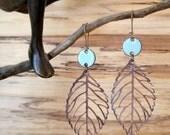 Robin's Egg Blue Drop Earrings, Copper Leaf Dangle Earrings, Enamel Earrings, Light Blue Chandelier Earrings Nickel free kidney ear wir