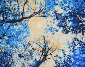China blue, 16x20 inches, #Art #Landscape art #Delft blue #Moon art #Natureart #GinaSignore #Original art #Blue wall art