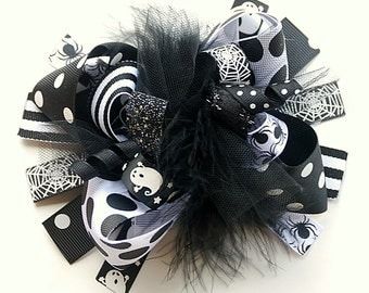 boutique FUNKY fun BLACK and WHITE halloween hair bow clip