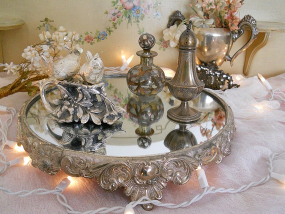 Vintage Mirrored Footed Plateau Tray Perfume Vanity Display