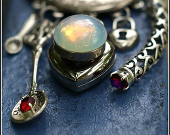 Double Heart Locket Necklace with Vintage Opal Glass and Antique French Typewriter Key Engraved Disc & Blue Ruby Spoons (etc)