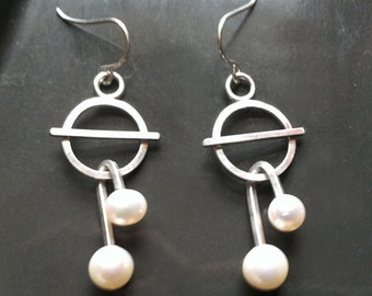 Space Age Atomic dangle round Futuristic Sterling Silver Pearl Earrings