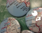 Custom pin back Button - US State Pick Your Town/City/Village