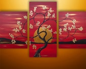Abstract Painting, Large Painting, Landscape Painting, Asian Painting, Tree Painting, Wall Decor, Wall Art, Red, Art, Made To Order