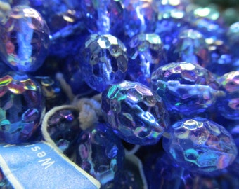 Vintage Glass Beads (6)(12x9) Sapphire Blue AB Beads