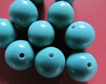 Vintage Glass Beads (10)(10mm) Stunning Handmade Japanese Turquoise Beads