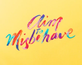 Aim to Misbehave Embroidery Artwork - giclee print