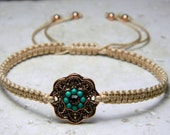 Macrame String Bracelet-Beige with Copper and bead Accents