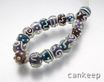 Teal,Coffee & Purple Scrolls ,Set of 18  small earring or Bracelet Beads SRA,Cankeep