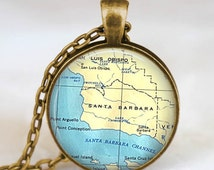Santa Barbara map necklace,santa barbara  pendant, santa barbara map jewelry gift for men women with gift bag