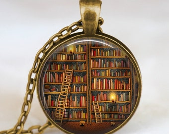 Vintage Library necklace , Librarian gift pendant , Vintage Books jewelry , books gift, writer ,teacher , book nerd gift necklace